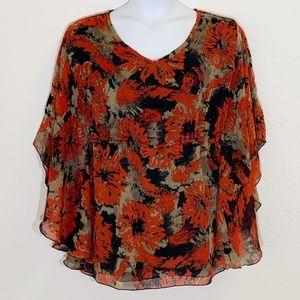 Jaclyn Smith Kimono Sleeve Floral Blouse Size 1X